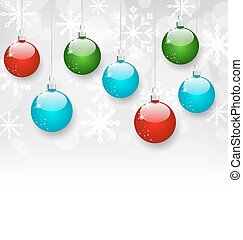 Christmas colorful balls with copy space