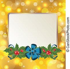 Christmas cute card with mistletoe and bow