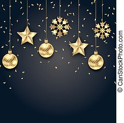 Christmas Dark Background with Golden Balls, Stars and Snowflakes