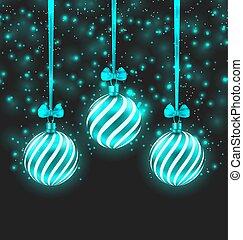 Illustration Christmas Dark Shimmering Background with Turquoise Glassy Balls - Vector