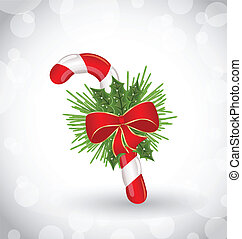 Christmas decoration with sweet cane, bow and pine