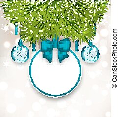 Christmas gift card with glass balls