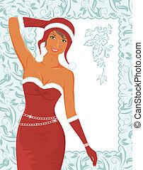 christmas girl with invitation