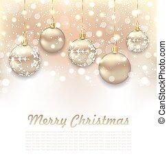 Christmas Glossy Postcard with Beautiful Balls