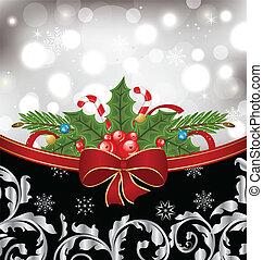Illustration Christmas glowingl packing, ornamental design elements - vector
