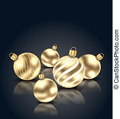 Christmas Golden Balls with Reflection