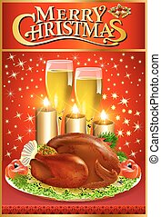 illustration Christmas greeting card with turkey and candles