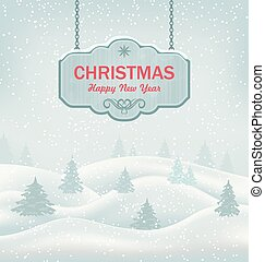 Christmas Greeting Retro Banner with Winter Landscape