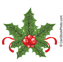 Illustration Christmas holly berry branches and ribbon isolated on white background - vector
