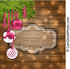 Christmas Label with Balls and Fir Twigs
