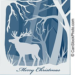Illustration Christmas paper card with deer in forest