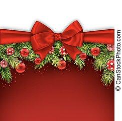 Christmas Postcard with Bow Ribbon