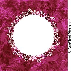 Christmas round frame made in snowflakes on grunge background