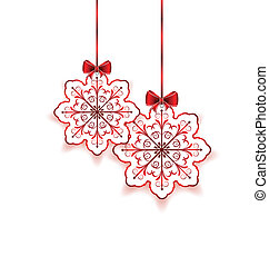 Christmas snowflakes with bow isolated on white background
