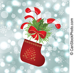 Christmas sock with sweet canes