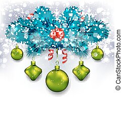 Christmas traditional decoration with fir branches, glass balls