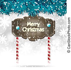 Christmas winter background with wooden blackboard