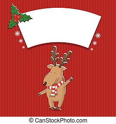 Illustration christmas with deer. Vector
