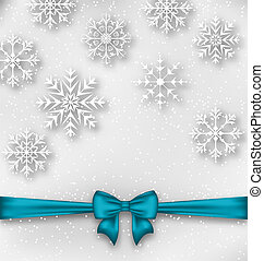 Christmas wrapping with bow ribbon and snowflakes -...