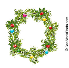 Christmas Wreath with Holly Berries