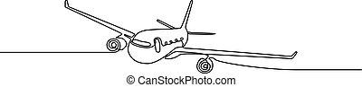 illustration., ciągły, jeden, airplane., wektor, kreska