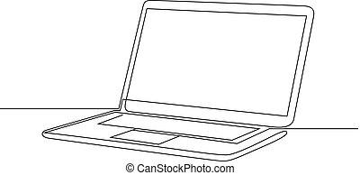 illustration., ciągły, laptop., jeden, wektor, kreskówka