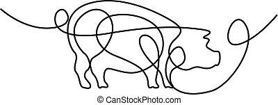 illustration., ciągły, pig., wektor, kreskówka