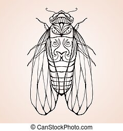 Illustration cicada with boho pattern. Vector element for...