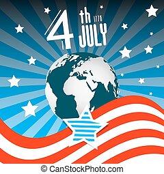 illustration., ciel, globe, -, américain, day., july., drapeau, 4, th, nuit, la terre, indépendance, retro
