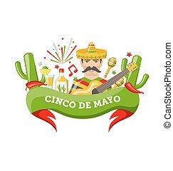 Cinco De Mayo Banner with Mexican Symbols and Objects