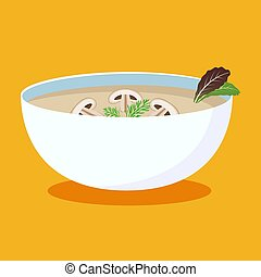 illustration., ciotola, isolato, mushrooms., minestra, caldo, vettore, minestra, piatto, pietanza, icon., crema