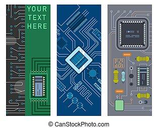 illustration., circuit ordinateur, puce, vecteur, conception, planche, fond, brochure, ic, puce, résumé, gabarit