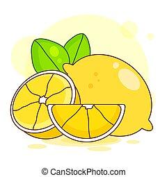 illustration., citroenen, bladeren, witte , vector., vector, achtergrond, fris