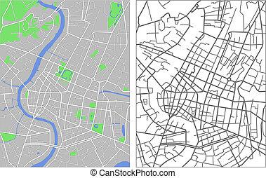 Bangkok - Illustration city map of Bangkok in vector.