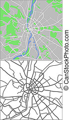 Illustration city map of Budapest in vector.