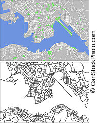 Illustration city map of Hongkong in vector.