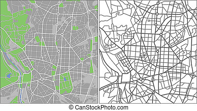 Madrid - Illustration city map of Madrid in vector.
