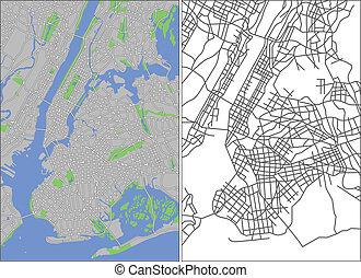 New York - Illustration city map of New York in vector.