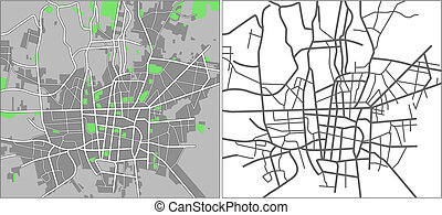 Illustration city map of Tehran in vector.
