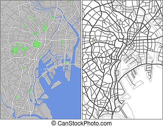 Tokyo - Illustration city map of Tokyo in vector.