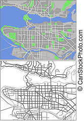 Vancouver - Illustration city map of Vancouver in vector.