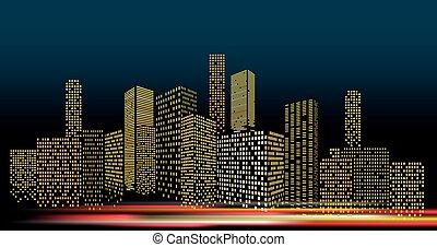 illustration., cityscape, vecteur, perspective, soir, ville bâtiments, moderne