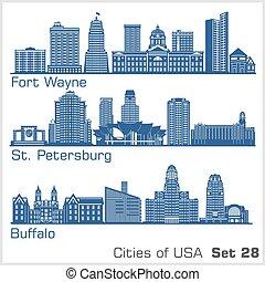 illustration., ciudades, wayne, fortaleza, detallado, ...
