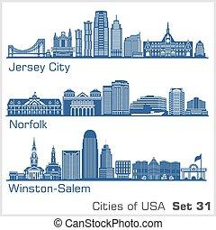 illustration., ciudades, winston-salem., jersey, detallado, ...