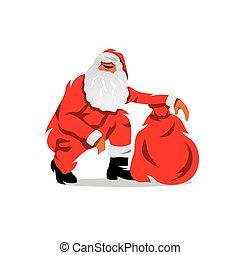 illustration., claus, sacco, regali, vettore, santa, cartone animato