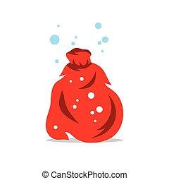 illustration., claus, sacco, vettore, santa, cartone animato, rosso