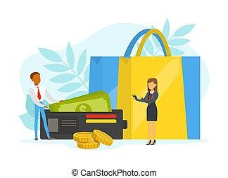 illustration, clients, énorme, faire courses ligne, concept...