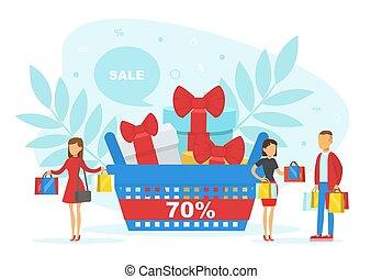 illustration, clients, sacs, énorme, gens, faire courses ...