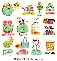 illustration, cliparts, la terre, sauver, jour, heureux