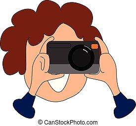 illustration., cliqueter, photographe, photos, couleur, vecteur, ou